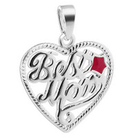 925 Sterling Silver Hot Pink Enamel Best Mom Heart with Star Pendant