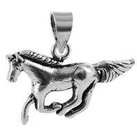 925 Sterling Silver 0.6 x 1 inch Galloping Horse Pendant #PSPS007