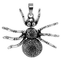 925 Plain Sterling Silver 1.2 x 1.4 inch Spider with Moving Limbs Pendant #PSPS011
