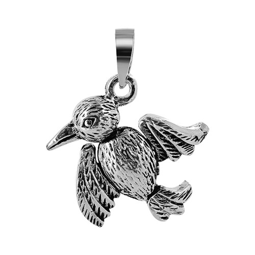 925 Sterling Silver 18mm x 19mm Bird with Moving Limbs Pendant