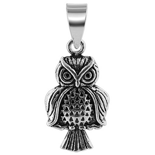 925 Sterling Silver 12mm x 22mm Owl Pendant