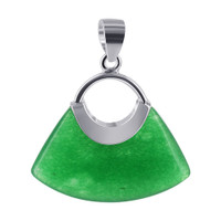 925 Sterling Silver 18mm x 23mm Green Gemstone Handbag Pendant