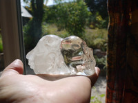 Clear quartz double headed skull (113097)