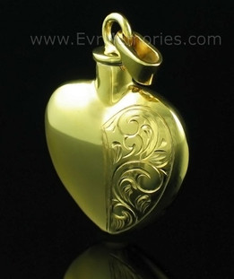 Half Etched Heart Ash Keepsake 14K Gold plated on Sterling Silver