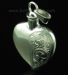 Sterling Silver Half Etched Heart Urn Necklace