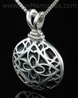 Filigree Round Urn Necklace - Silver