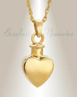 14k Gold Small Heart Pendant Memorial Locket
