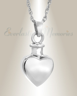 14k White Gold Small Heart Sterling Silver Urn Keepsake