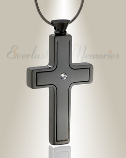 Black Plated Dependable Cross Cremation Jewelry