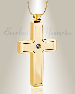 Gold Plated Dependable Cross Keepsake Urn Jewelry