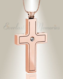 Rose Gold Dependable Cross Keepsake Urn Jewelry