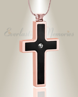 Rose Gold Black Dependable Cross Cremation Jewelry