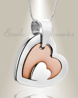 Stainless Steel with Rose Gold Honesty Heart Necklace Urn