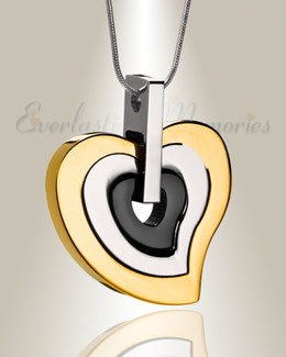 Gold and Stainless Sincere Heart Urn Pendant