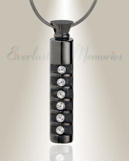 Black Marvel Cylinder Cremation Jewelry