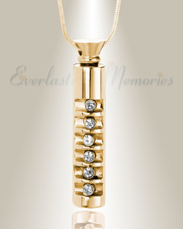 Gold Marvel Cylinder Cremation Jewelry