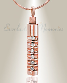 Rose Gold Marvel Cylinder Necklace Urn