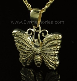 14K Gold Plated Butterfly Urn Keepsake