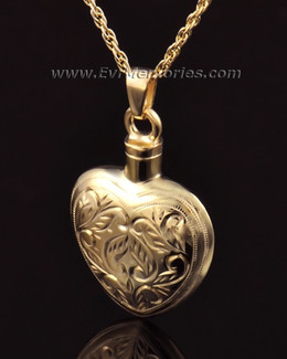 14k Gold Etched Heart Jewelry Urn