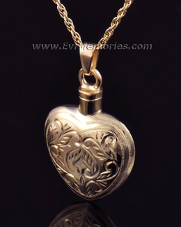 Etched Heart Jewelry Urn -14K Gold Plated