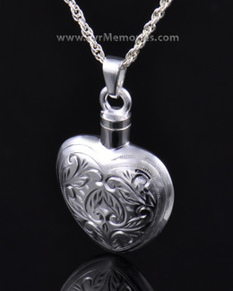 Etched Heart Cremation Keepsake -Plain Back