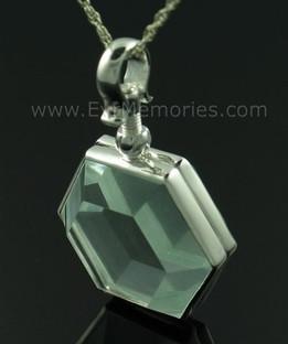 Hexagon Glass Memorial Jewelry Urn