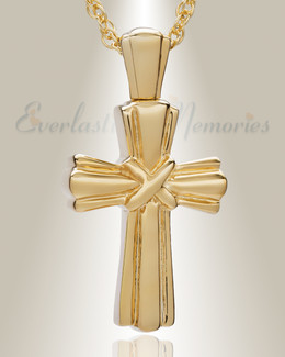 14K Gold Antique Wrapped Cross Urn Keepsake