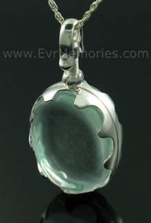 Oval Glass Memorial Urn Necklace