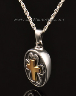 14k White Gold Oval with Cross Memorial Locket