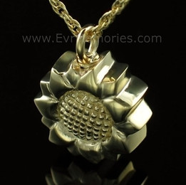 14K Gold Plated Sunflower Cremation Keepsake