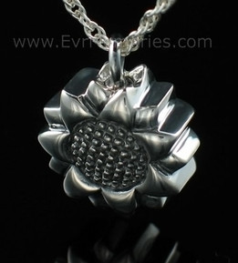 Silver Sunflower Urn Necklace
