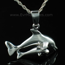 Sterling Silver Mother and Baby Dolphins Cremation Keepsake