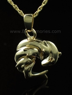 14K Gold Plated Circle of Dolphin Urn Necklace