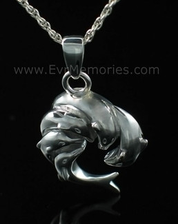 Silver Dolphins Cremation Memorial Locket