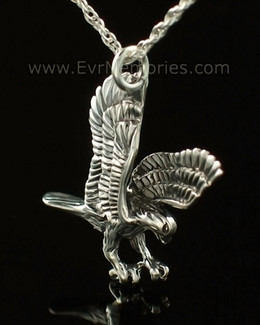 14K White Gold Eagle Cremation Keepsake