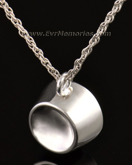 14k White Gold Dish Cremation Jewelry Urn