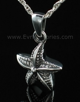 Silver Starfish Cremation Funeral Jewelry