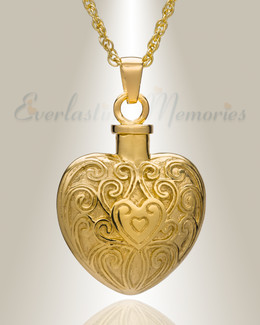 14K Gold Plated Filigree Love Heart Cremation Keepsake