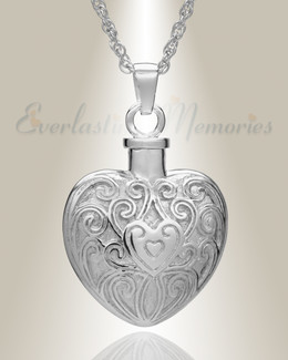 Sterling Silver Filigree Love Heart Urn Necklace