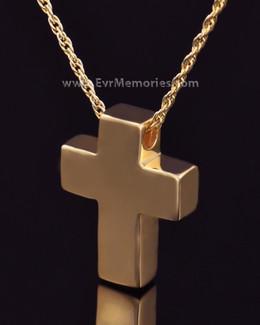 14K Gold Plated Sliding Cross Memorial Locket