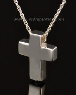 14k White Gold Sterling Silver Sliding Cross Urn Keepsake