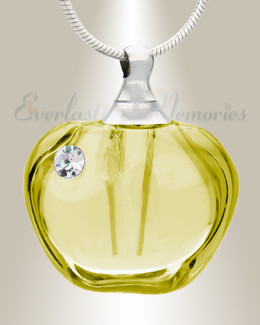 Glass Locket Yellow Passion Cremation Pendant