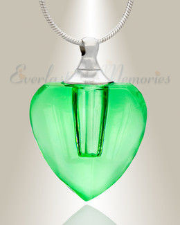 Glass Locket Green Squared Heart Memorial Jewelry