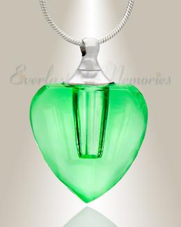 Glass Locket Green Squared Heart Memorial Jewelry