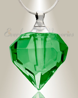 Glass Locket Emerald Eye Cremation Pendant