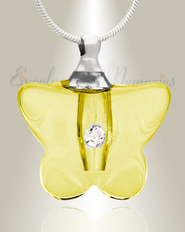 Glass Locket Yellow Flutter Necklace Urn