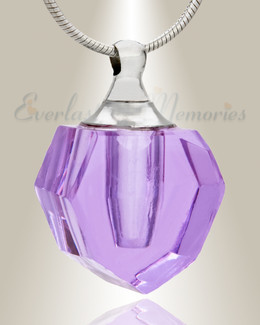 Glass Locket Violet Graceful Teardrop Jewelry Urn
