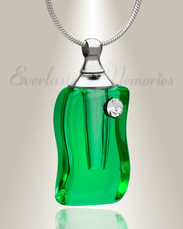 Glass Locket Emerald Forest Memorial Jewelry