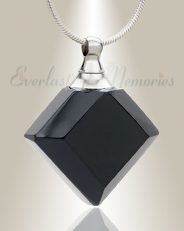 Glass Locket Ebony Diamond Keepsake Pendant