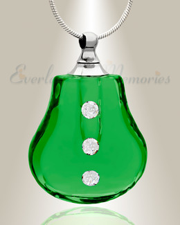 Glass Locket Emerald Trickle Cremains Locket